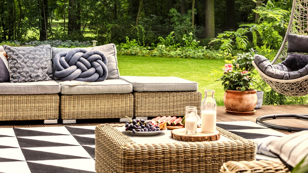 Outdoor furniture in fair weather